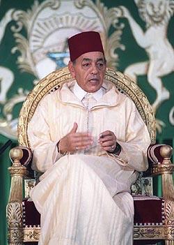 De inmiddels overleden koning Hassan II van Marokko